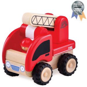 Játék tűzoltóautó felnyitható létrával - fajáték - Wonderworld