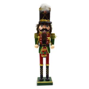 Diótörő figura - dobos fa bábu piros és zöld ruhában - vesszoparipa.hu