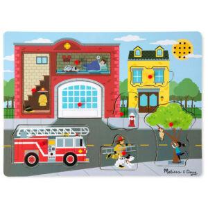 Hangos puzzle - tűzoltóállomás - Melissa & Doug kirakó